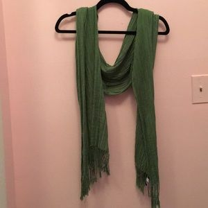 Gap Green Sheer Fringe Scarf